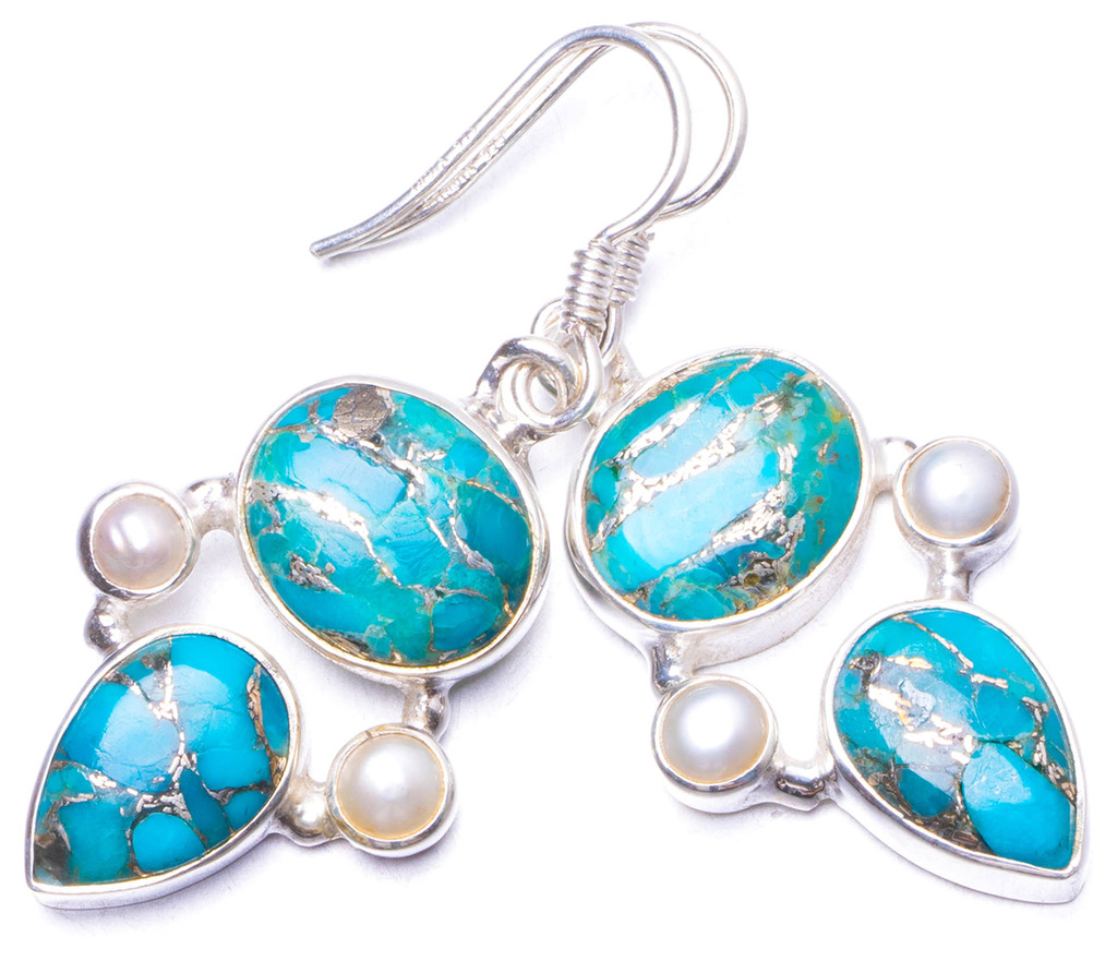 Natural Copper Turquoise and River Pearl Handmade Unique 925 Sterling Silver Earrings 1.5 Y1188