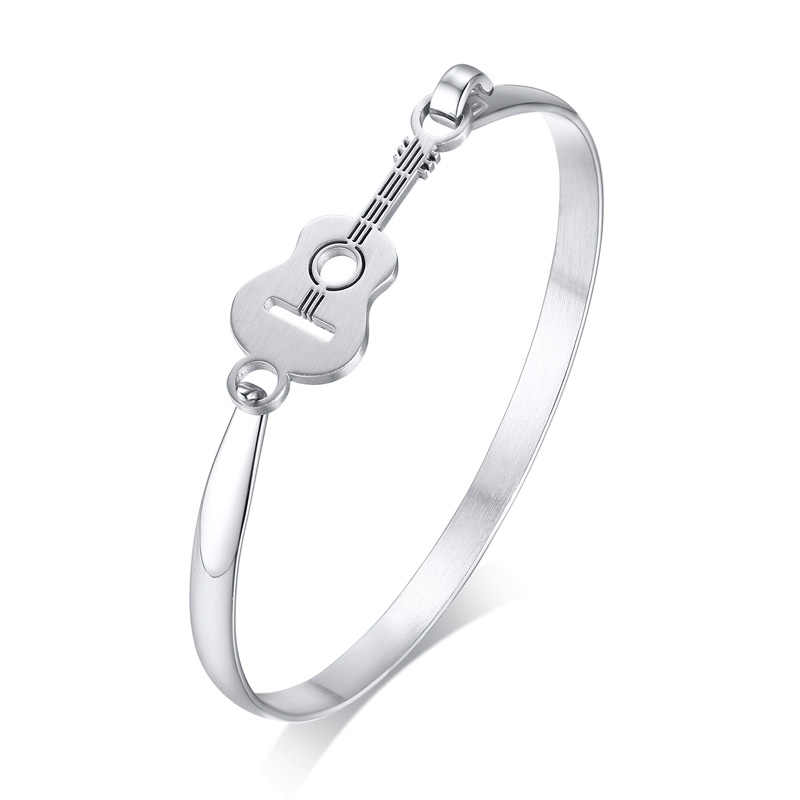 Simple Guitar Bracelet Silver Color Stainless Steel Bangle for Women Fashion Jewelry Male Gift