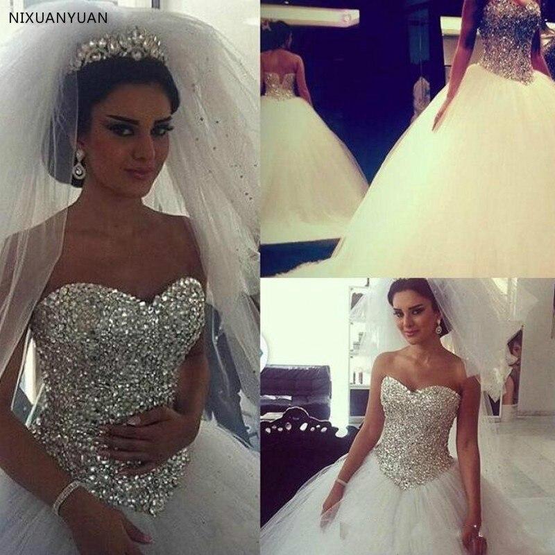 Custom Made Casamento Bridal Gown Beaded Crystals 2020 Vestidos De Novia Corset Wedding Dress Lace Up Gelinlik Robe De Mariee