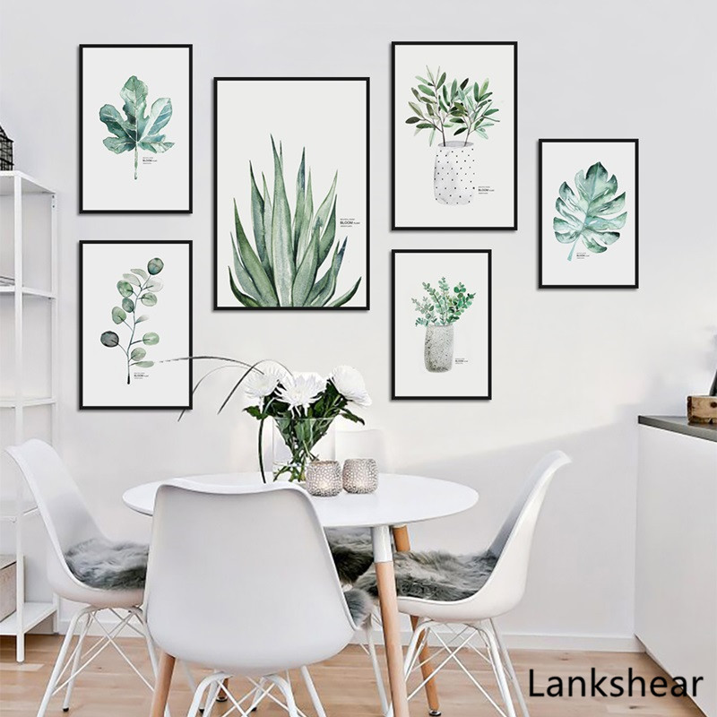 Tropical Plant Leaves Canvas Art Print Poster Nordic Green Plant Wall Art Pictures Kids Room Large Painting No Frame Home Decor