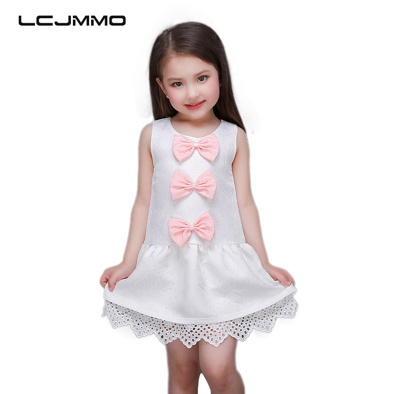 LCJMMO Cute Summer Girls Princess Dress 2018 New Fashion Bow Jacquard Wedding Party Kids Dresses For Girl Clothes Size 3-10Years new fashion embroidery flower big girls princess dress summer kids dresses for wedding and party baby girl lace dress cute bow