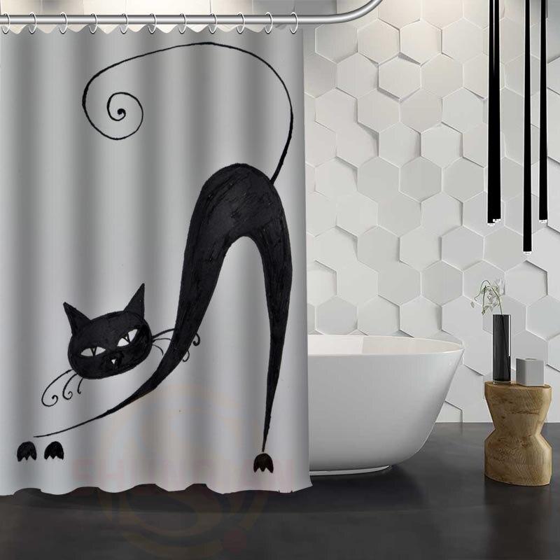 F1 Hot Sale Custom Art Cat Custom Shower Curtain Waterproof Fabric ...
