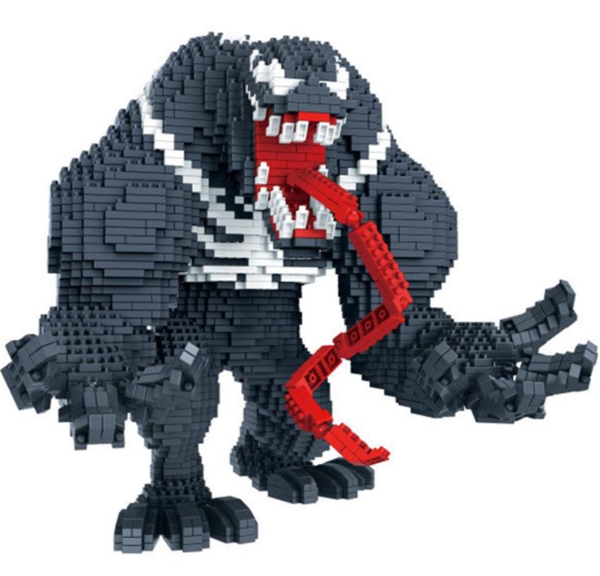 3910pcs Diamond thonas gloves with energy stone and long tongue marvel Venom 3d model building kits