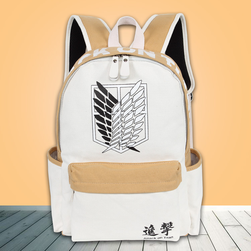2019 Anime Backpack Attack On Titan Canvas Laptop Backpack School Bags for Teenagers Vintage Mochila Rucksack Travel Daypack conjunto de bolsas femininas