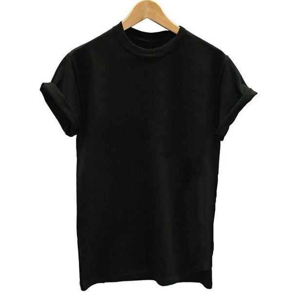 Solid Basic Color plain black woman T shirt 2018 Girl Women Letter Print T-shirt Swag Harajuku Vogue Female No Print Tshirt