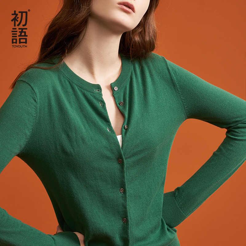 Toyouth Color sólido mujeres punto Cardigan abrigo Otoño Invierno 2019 Casual cuello redondo manga larga Crochet suéter de punto Mujer Top