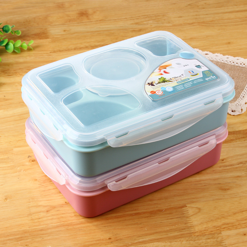ULKNN Student Microwave Oven Lunch Box Refrigeratible Heating Square Korean Style Catering Utensils Microwave Oven Lunch Box in Lunch Boxes from Home Garden