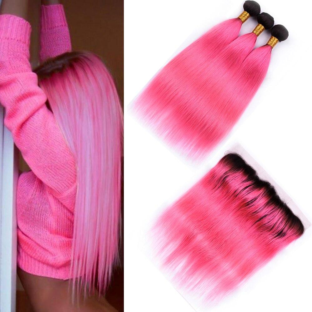 Saphir brésilien T1B/rose droit 3 paquets de cheveux humains avec 13*4 dentelle frontale pré-colorée Ombre faisceaux avec 13*4 fermeture