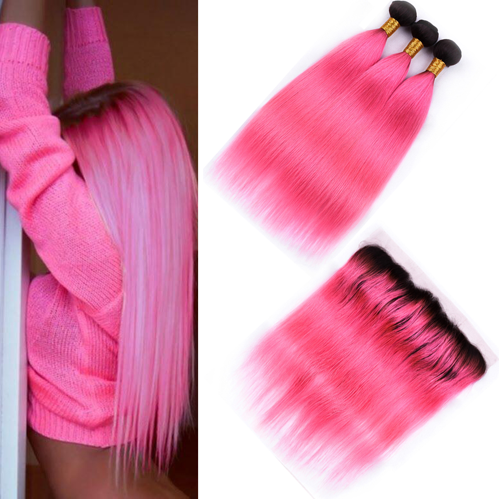 Sapphire Brazilian T1B/Pink Straight 3 Human Hair Bundles With 13*4 Lace Frontal Pre-colored Ombre Bundles with 13*4 Closure