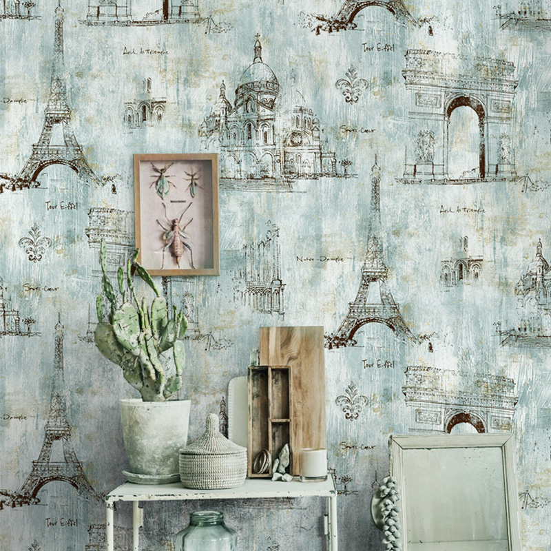 American vintage wallpaper murals 3d wallpaper eiffel for Wallpaper home vintage