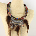 New Arrived Bohemian Unique style Winter Jewlery Colorful Feather Pendant Bib statement Necklace Collar for Dress