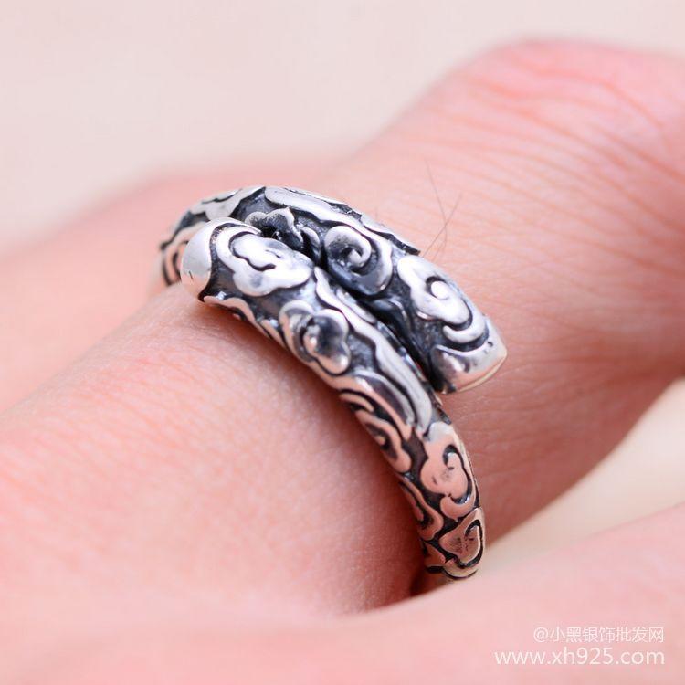 KJJEAXCMY fine jewelry 925 S990 чистого серебра Ретро tiao серебро обруч палка гладкие лица пара открытие кольцо
