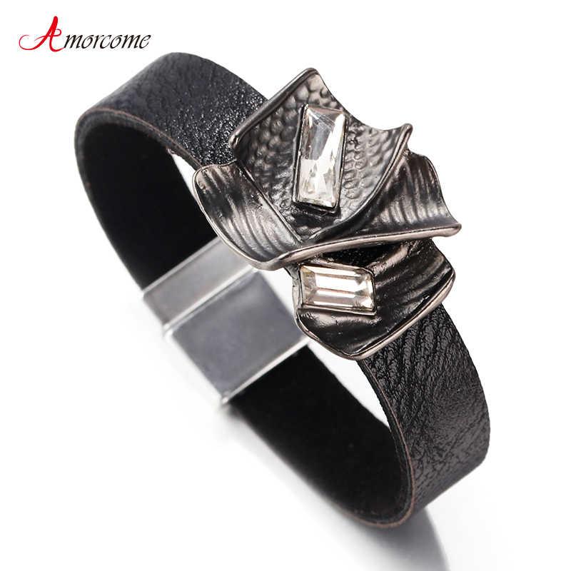 Pulsera de cuero de diseñador de marca Amorcome, joyería de mujer, 2019, elegante, con encanto de Metal cristalino para fiesta, pulseras de mujer