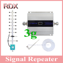 High quality LCD display cellphone 3G repeater mobile phone w-cdma 2100mhz UMTS booster signal amplifier with 3g yagi antenna