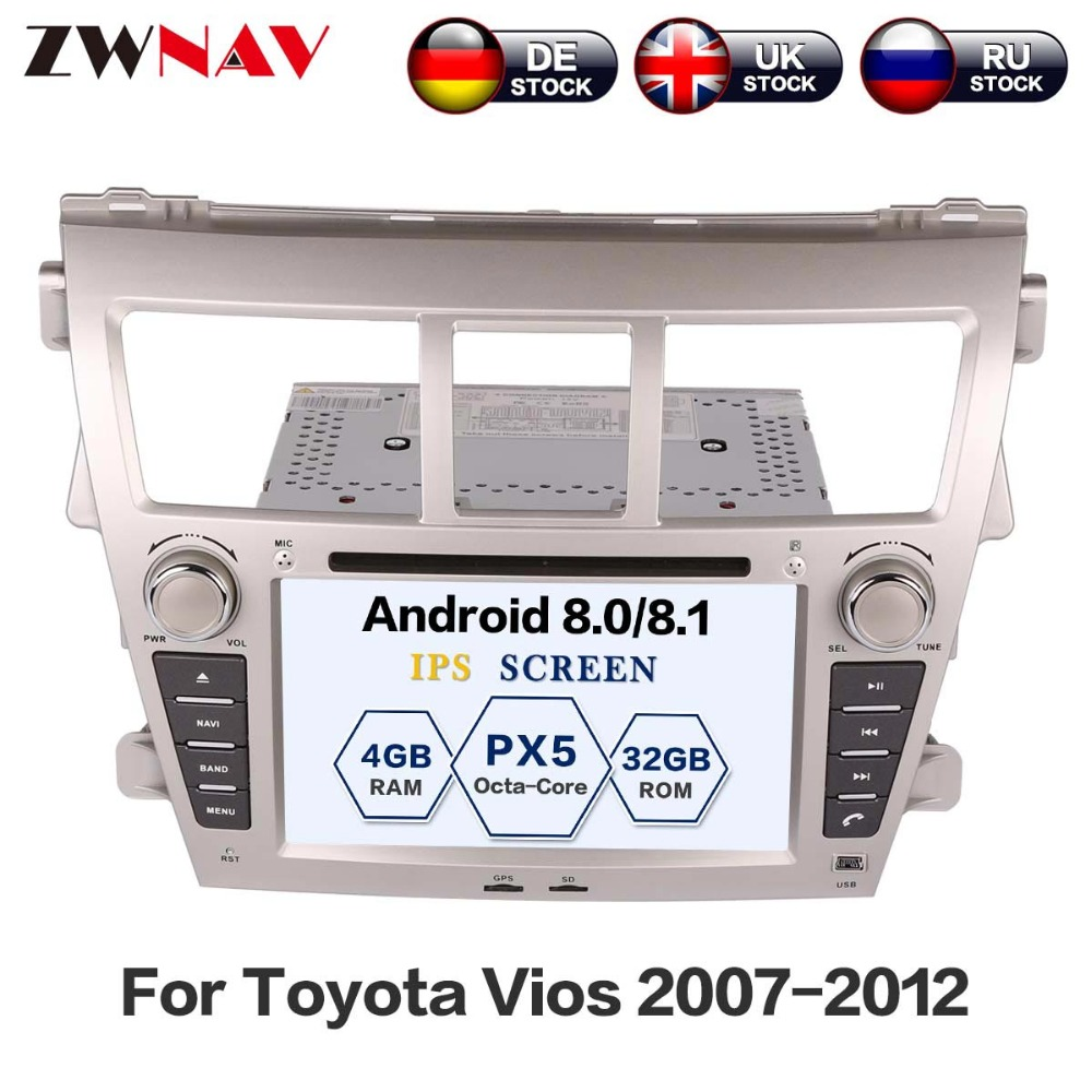 ZWNAV Android 8.0 Car Stereo Radio DVD Player GPS Navigation For TOYOTA Yaris Sedan 2006-2012 Vios 2007-2012 Belta 2005-2008 колье belta d238 b