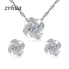 ZRHUA Jewelry-Sets Pendant Necklace Christmas-Gift 925-Sterling-Silver Personalized Women