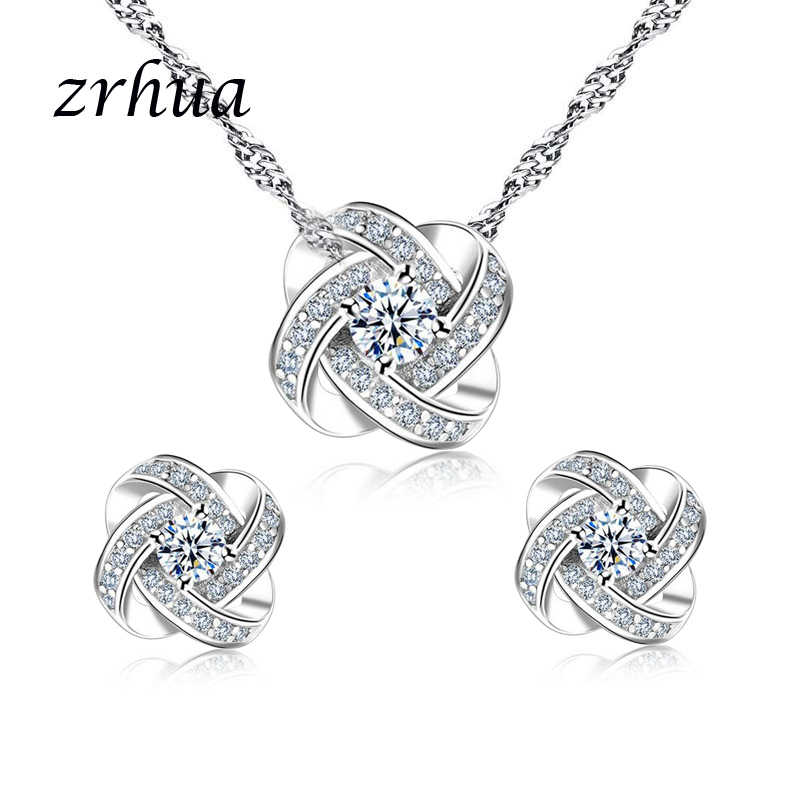 ZRHUA Original 925 Sterling Silver Jewelry Sets Personalized Pendant Necklace Earrings Set for Women Female CZ Christmas Gift