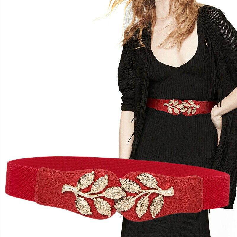 Women Belt Elastic Tight Waist Summer Dresses Decorative Fashion Leaf Pattern Woman Waist Band 63*4cm