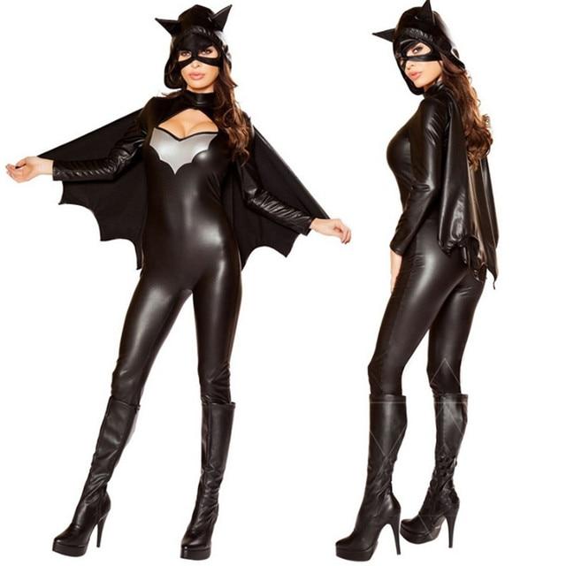 New Luxurious Black Batman Zentai Sexy Superhero Cosplay Jumpsuit Mask Cape Wonder Bodysuit Batgirl Costume Halloween