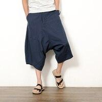 2017 Japanese Cotton Linen Pants Low Crotch Pants Wide Leg Hanging Crotch Pants