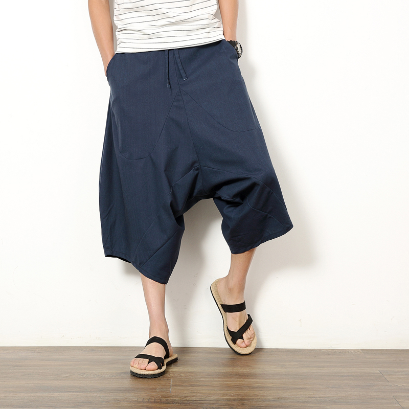 PASATO Mens Wide Crotch Harem Cotton Linen Wide-Legged Bloomers Baggy Cropped Trousers