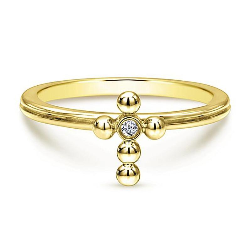 Huitan Cross Shaped Ring Noble Gold Color Boho Stylish Simple Cross Design Women Accessory Ring Wholesale Lots&Bulk Dropshipping(China)