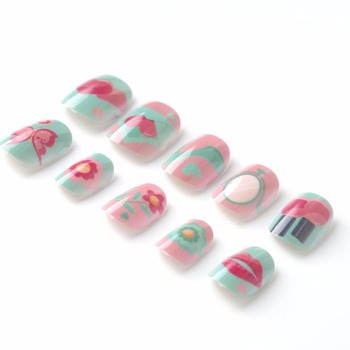 New Candy Lives Children Fake Nails Pre-glue 20 Pcs Pink Blue Nail Tips Press on for Little Girls Kits patch for Finger artificial nails