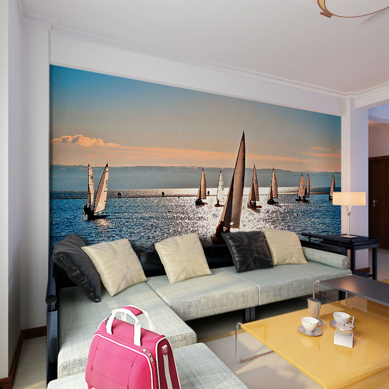 Soundproofing A Bedroom Wall party wall soundproofing Beibehang Sailboat Seascape Diy Home Decor Photo Print Wall Mural Papel De Parede 3d Wallpaper For