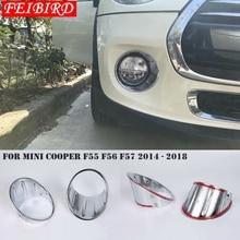 ABS яркое серебро для Mini Cooper F55 F56 F57 3 двери 5 двери 2014-2018 спереди туман осветительная лампа комплектация Крышка Кольца
