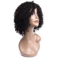 Вьющиеся парик, парик для черный Для женщин Короткие вьющиеся парики 130% плотность короткий боб парики регулируемый ремень африканская мода