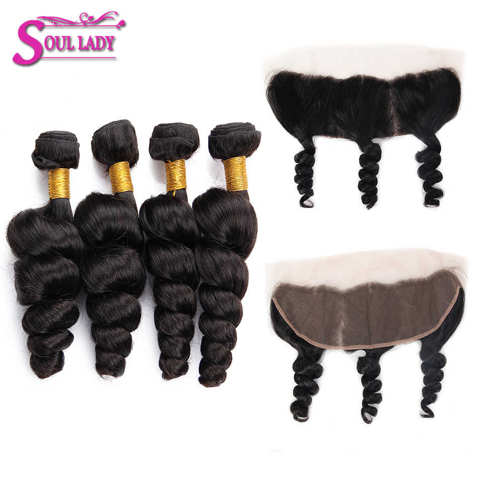 SoulLady Peruvian Loose Wave Bundles With Frontal Closure 13x4 Ear To Ear Lace Frontal Closure With Bundles Remy 100% Human Hair