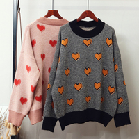 Women Lady Jumper Sweater Pullover Tops Coat Heart pattern Pullovers And Sweaters Winter Womens Sweaters Clothing