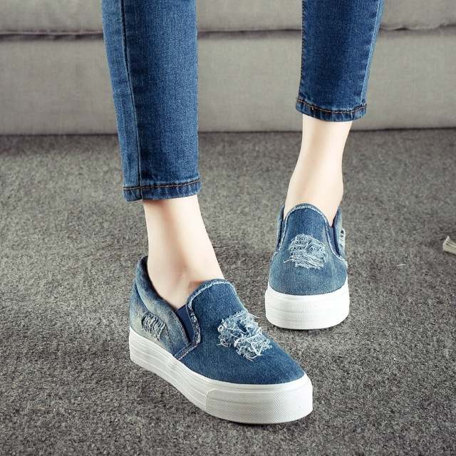 ba004d5f0e4 Key Account Denim Canvas Shoes Woman Platform Loafers Slip On Creepers  Casual Vintage Flats Women Shoes Size 35-39 Zapatos Mujer