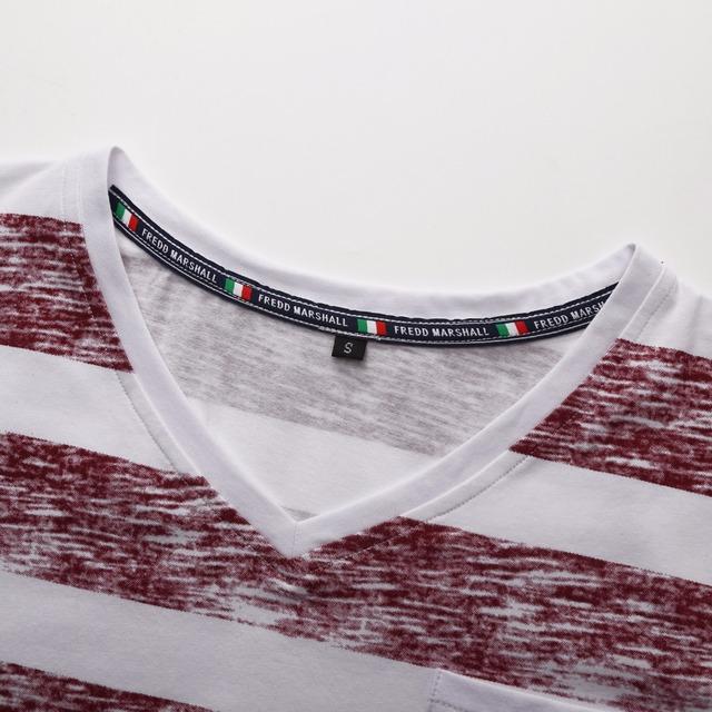 NORMEN Men's T-Shirts  Fashion Striped V-Neck Cotton EUR Size Top Grade Tee Shirt Men Hip Hop Streetwear Plus Size T Shirt Men