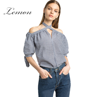 Lemon 2017 New Fashion Summer Basic Coat Fashion Small Fresh Strapless Hanging Neck Check Bow Tie
