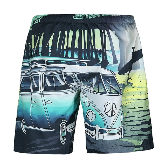 Mr.1991INC New brand shorts men summer 3d digital print car seaside beach shorts casual lovely short pants