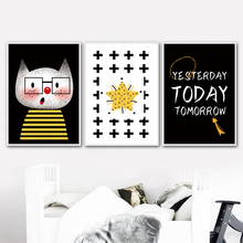 Cat Star Quotes Cartoon Watercolor Nordic Posters And Prints Wall Art Canvas Painting Pictures Kids Room Nursery Home Decor