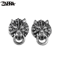 ZABRA Solid Vintage 925 Sterling Silver Earrings For Women Men Steampunk Rock Cool Wolf Head Gothic