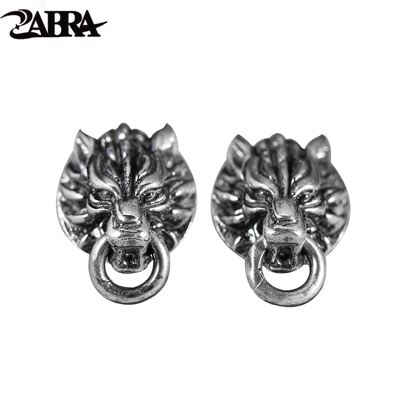ZABRA Solid Vintage 925 Sterling Silver Earrings for Women Men Steampunk Rock Cool Wolf Head Gothic Bague Argent Fashion Jewelry 925 sterling silver bracelets for men skull bracelet vintage punk rock gothic bague fashion men cool exaggerated fine jewelry