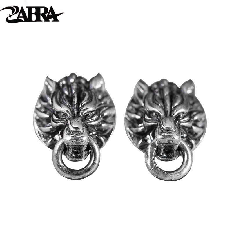 ZABRA Solide Vintage 925 En Argent Sterling Boucles D'oreilles pour Femmes Hommes Steampunk Rock Frais de Loup Tête Gothique Bague Argent Bijoux De Mode