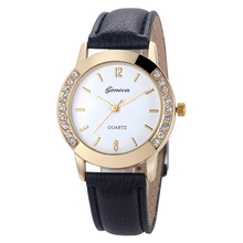 Womens Vogue Analog Diamond Leather-based Quartz Wrist Watch – black
