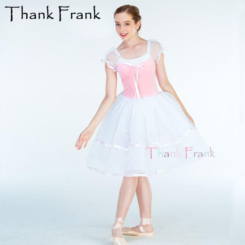 Girls Pink Velvet Long Ballet Dress Kids Women Sweet Ribbon Bow Ballerina Dance Tutu Dresses Adult Puff Sleeve Stage Costume
