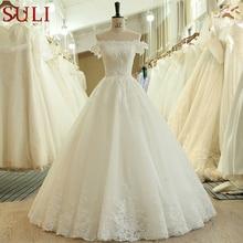 SL 536 אופנה זול על כתף קצר שרוול חרוזים תחרת Applique כלה חתונה שמלת matrimonio vestido לונגו