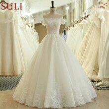 SL 536 moda tanie Off the Shoulder koraliki z krótkim rękawem koronkowa aplikacja suknia ślubna dla nowożeńców matrimonio vestido longo