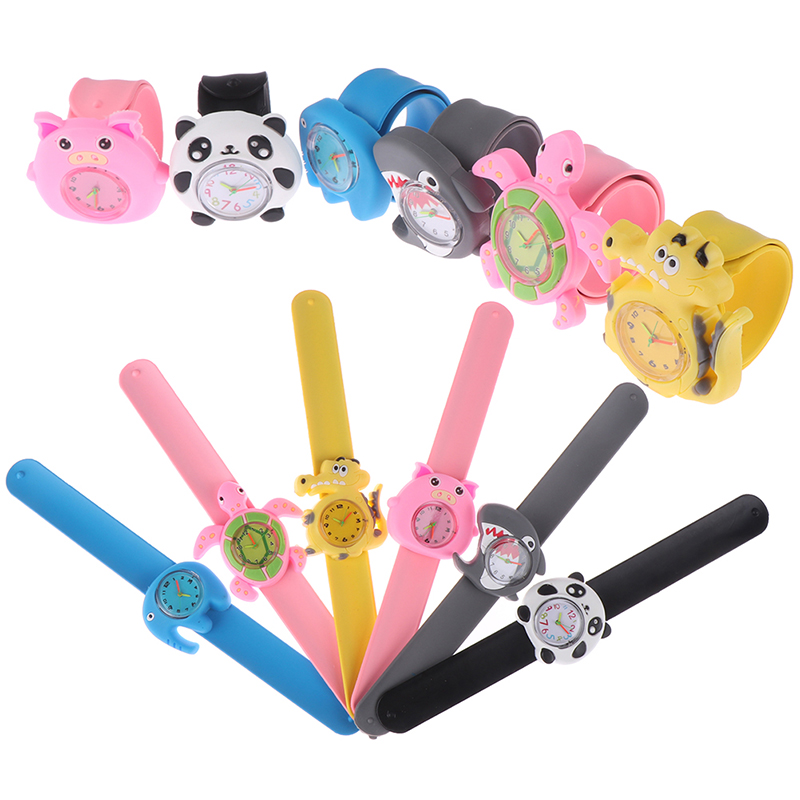 3D Kids Silicone Cartoon Watches Lovely Band Slap Watch Casual Animal Children Clock Waterproof Student Wrist Watches Gifts
