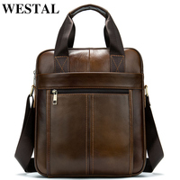 WESTAL 2019 Bags for Men Messenger Bag Men's Genuine Leather Vertical Male Bag Men Crossbody/Shoulder Bags for 13 ipad Handbags