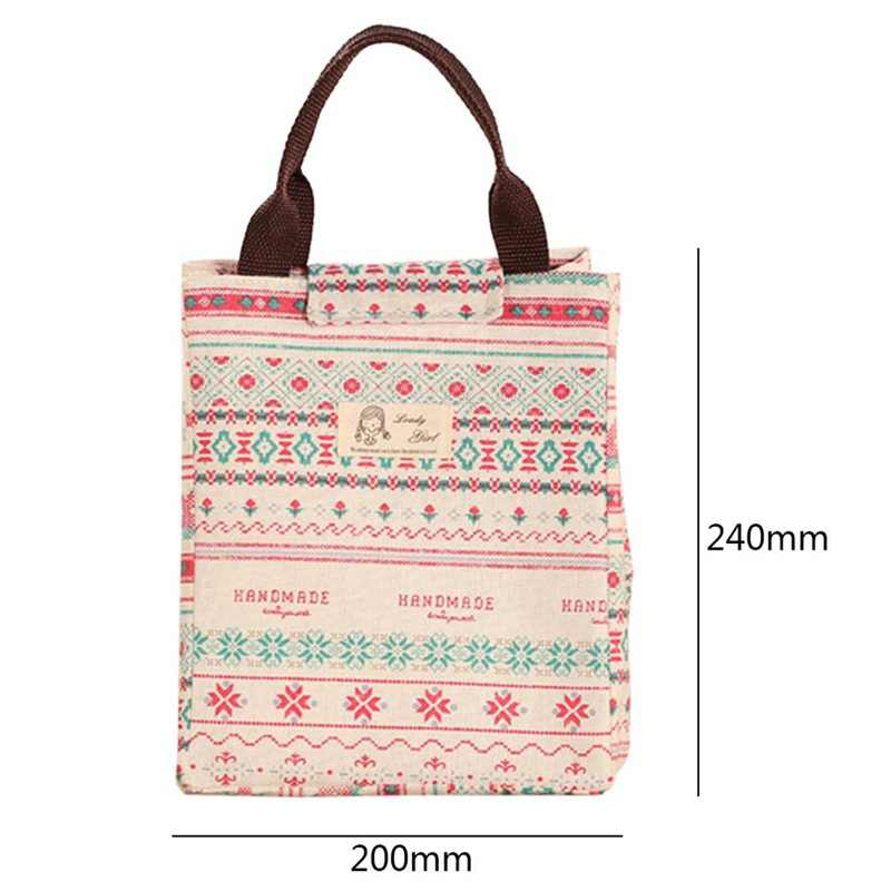 Lasperal 1pc 24x20x17cm Lunch Box Picnic Bag Tote Handbag Food Container Gourmet Pouch Colorful Cartoon