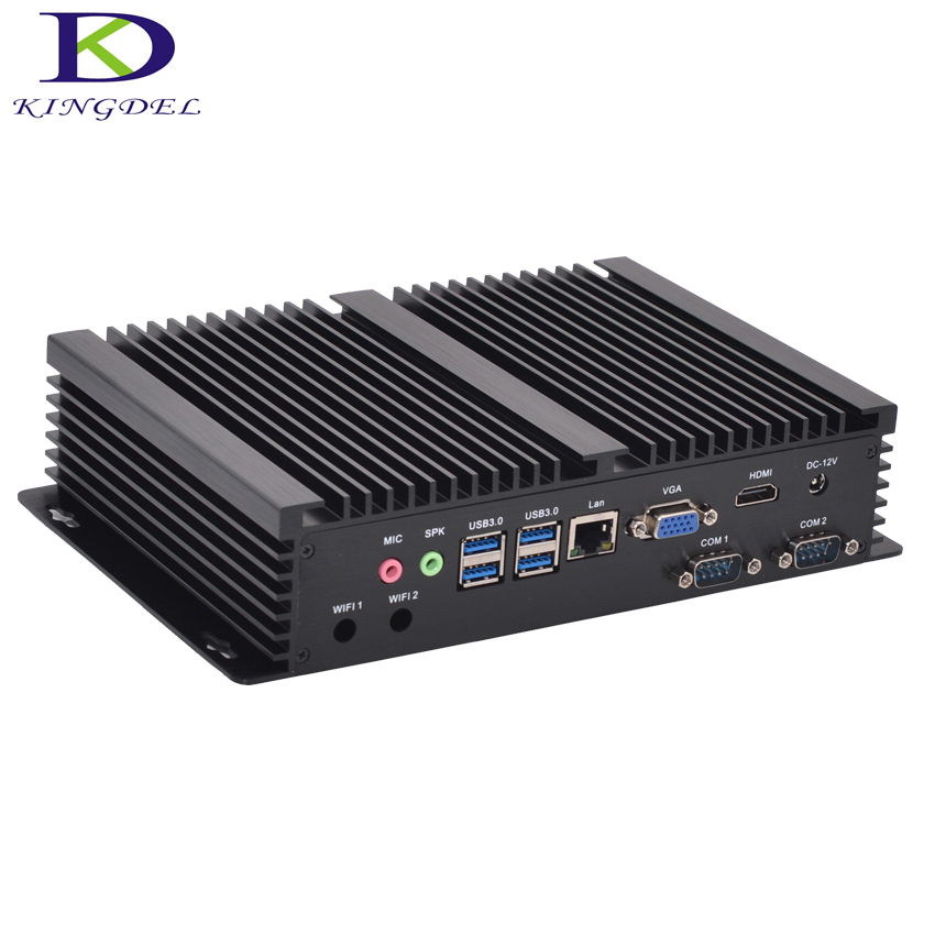 Fanless Industrial Mini PC Windows 10 Rugged ITX Aluminum Case Intel Core I3 5005u HTPC TV Box RS232 WiFi USB VGA Thin Client PC