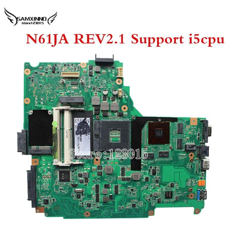N61JA For ASUS N61JA N61JQ REV2.1 2.0 Laptop Motherboard mainboard N61JA Intel core I5 CPU 100% Tested & Free Shipping