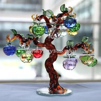 K9 Crystal Christmas Apple Tree Home Decorative Cut Crystal Glass For Gifts And Ornament